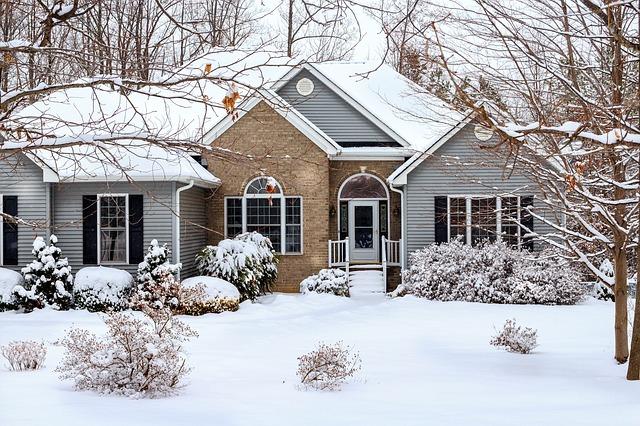 zima, sníh, domek
