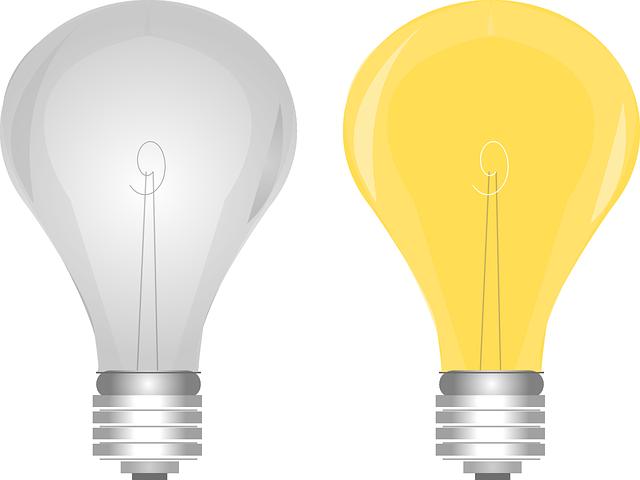 obrázek zhasnuté a rozsvícené žárovky